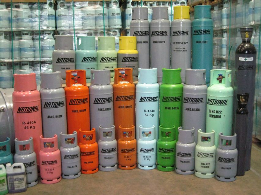 different sizes of refrigerant cylinders
